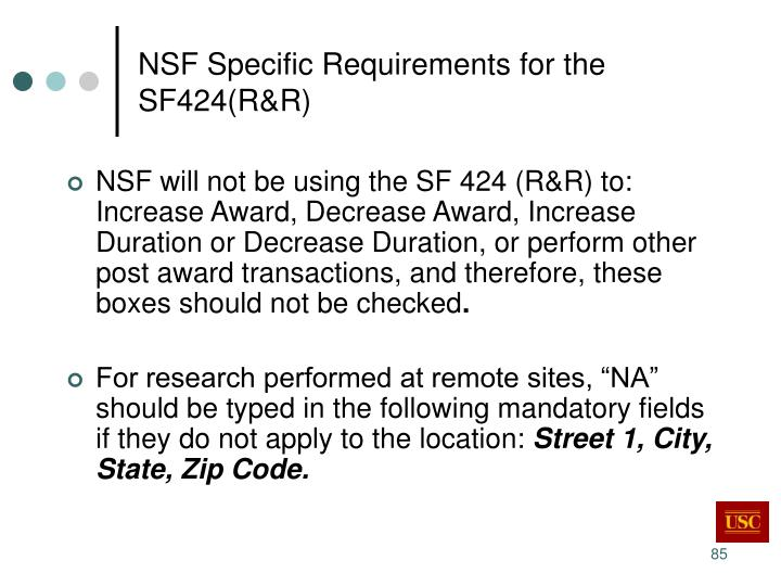 NSF Specific Requirements for the SF424(R&R)
