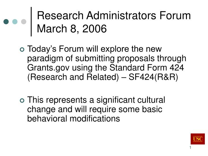Research administrators forum march 8 2006