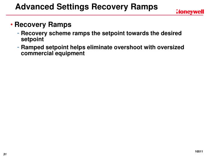 Advanced Settings Recovery Ramps