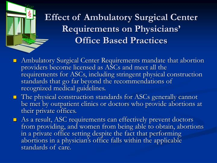 Effect of Ambulatory Surgical Center Requirements on Physicians'