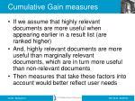 cumulative gain measures