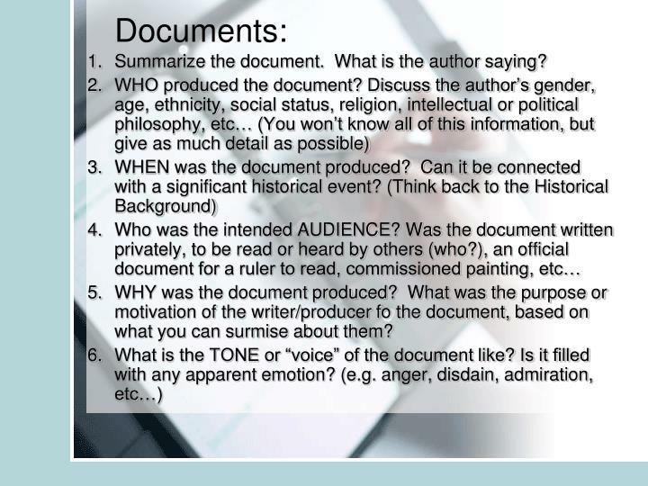Documents: