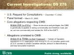 current investigations ds 276