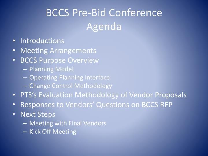 Bccs pre bid conference agenda