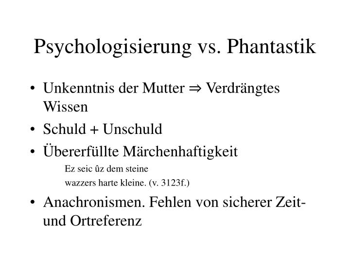 Psychologisierung vs. Phantastik