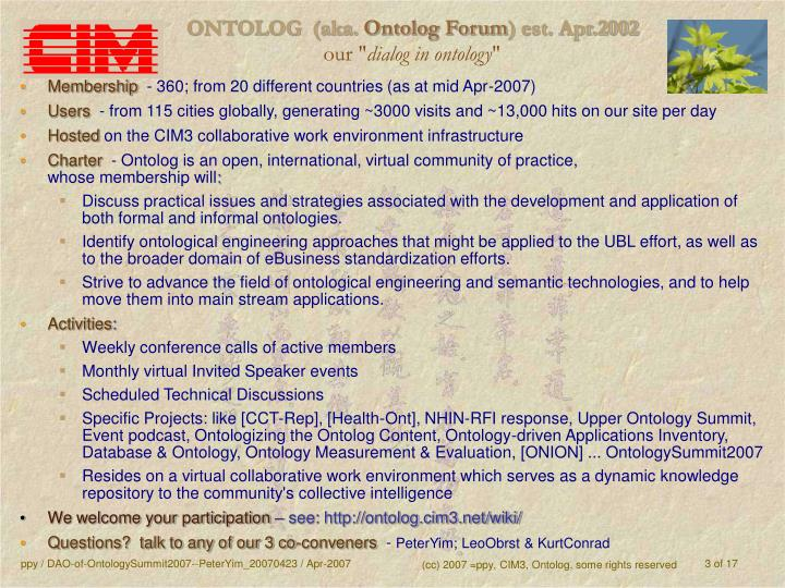 Ontolog aka ontolog forum est apr 2002 our dialog in ontology