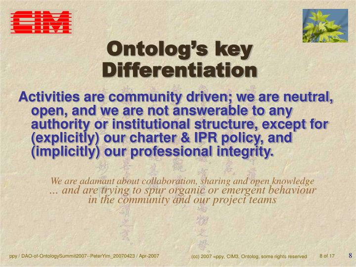 Ontolog's key Differentiation