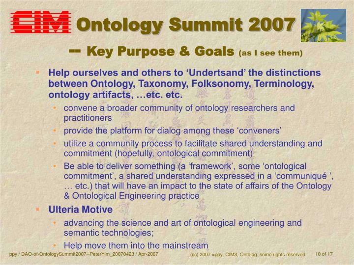 Ontology Summit 2007