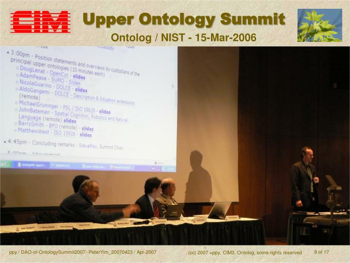 Upper Ontology Summit