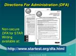 directions for administration dfa