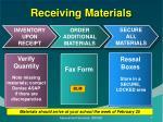 receiving materials