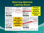 returning materials labeling boxes
