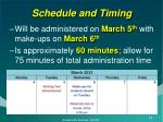 schedule and timing