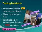 testing incidents