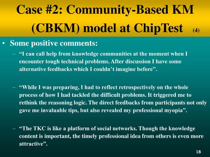 Case #2: Community-Based KM (CBKM) model at ChipTest
