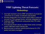 wrf lightning threat forecasts methodology