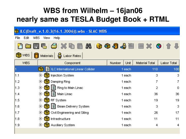 Wbs from wilhelm 16jan06 nearly same as tesla budget book rtml