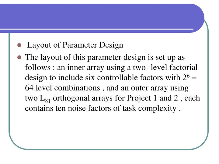 Layout of Parameter Design
