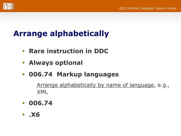 Arrange alphabetically