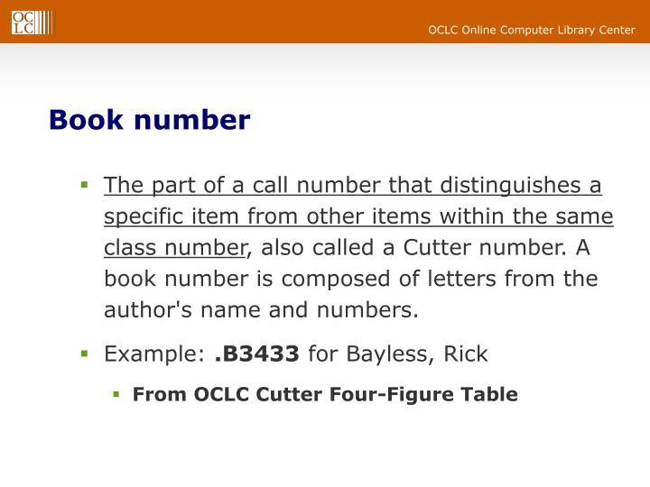 Book number