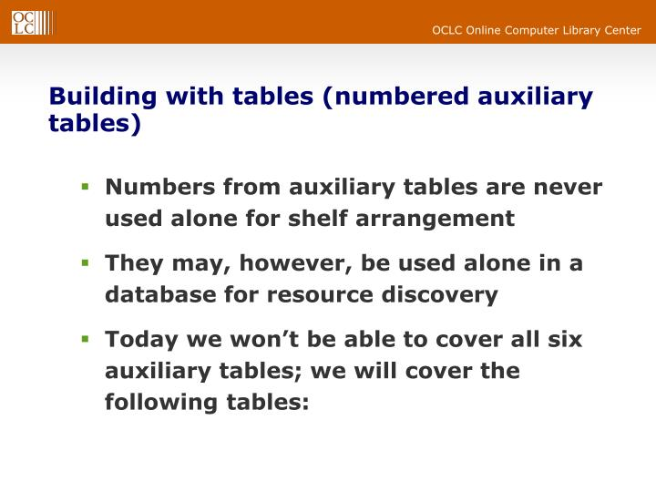 Building with tables (numbered auxiliary tables)