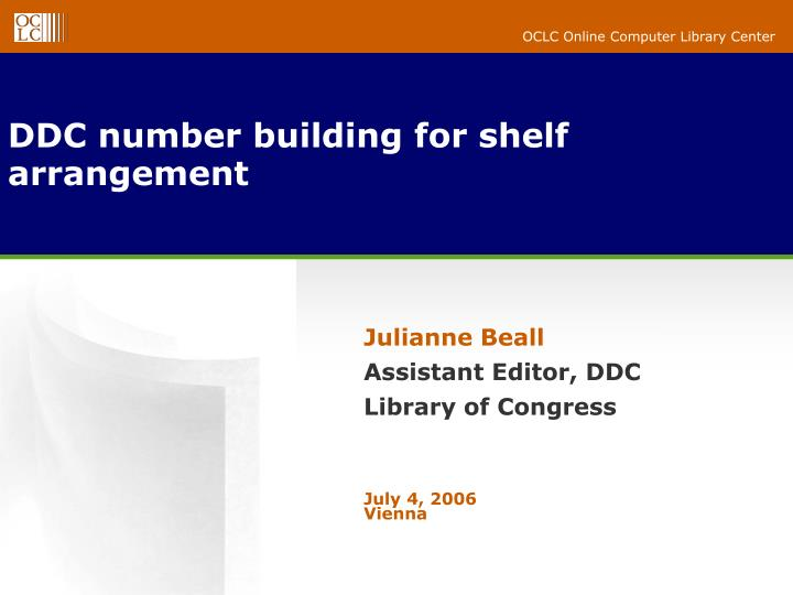 Ddc number building for shelf arrangement