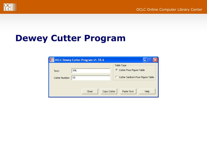Dewey Cutter Program