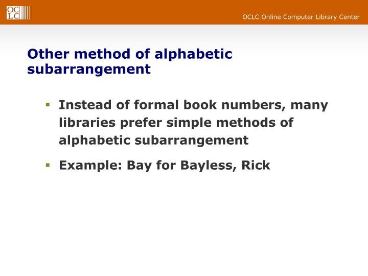 Other method of alphabetic subarrangement