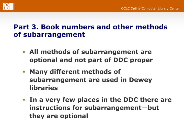 Part 3. Book numbers and other methods of subarrangement