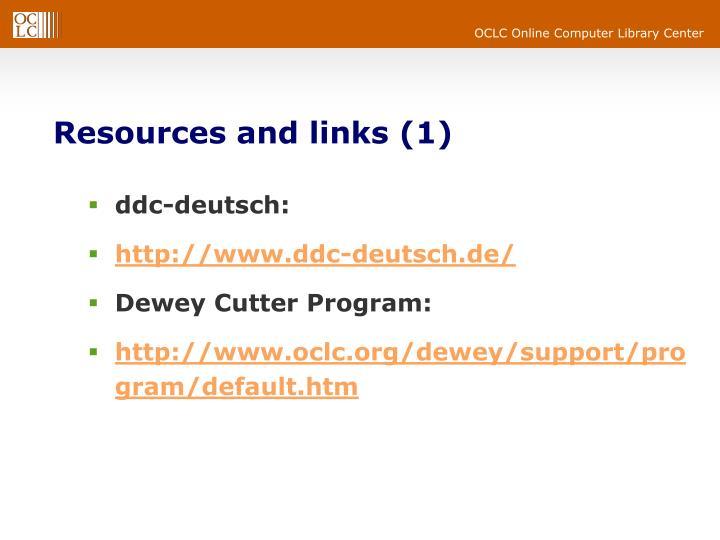 Resources and links (1)