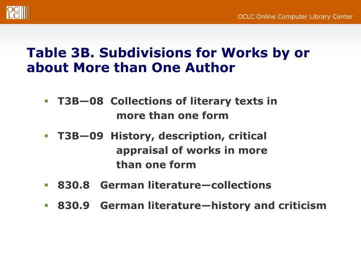 Table 3B. Subdivisions for Works by or about More than One Author