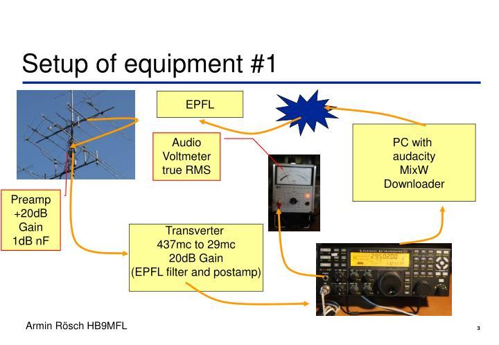 Setup of equipment #1