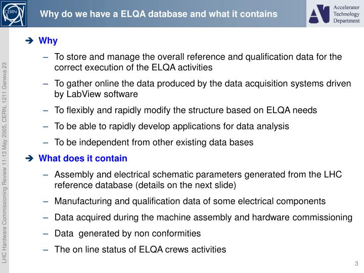 Why do we have a elqa database and what it contains