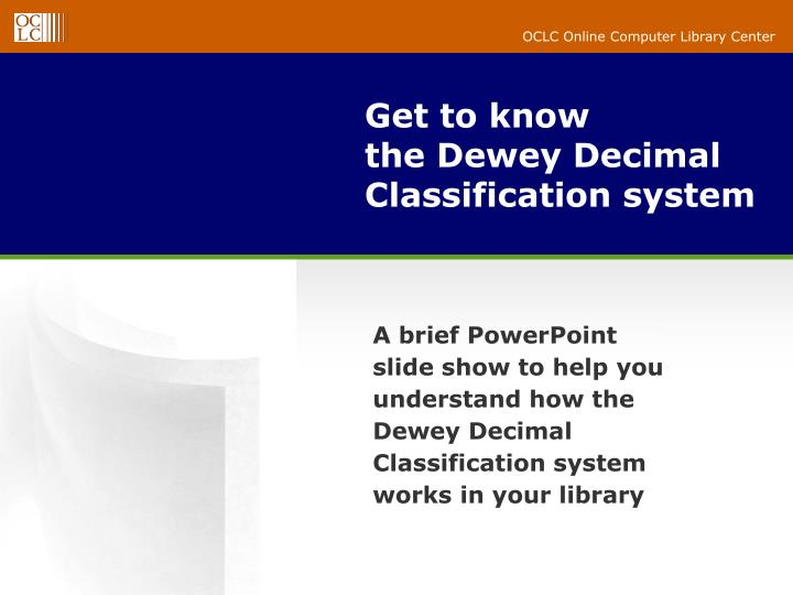 get to know the dewey decimal classification system n.