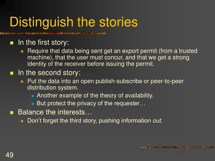 Distinguish the stories