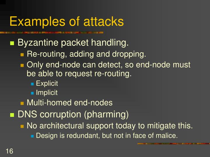 Examples of attacks