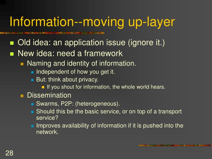 Information--moving up-layer