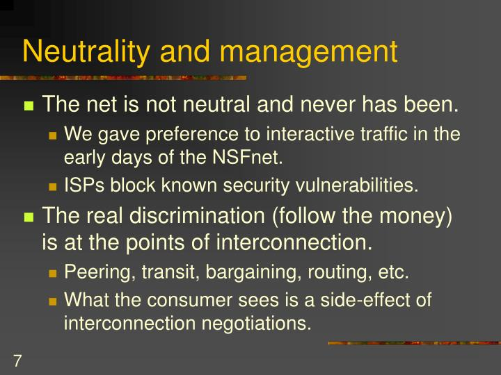 Neutrality and management