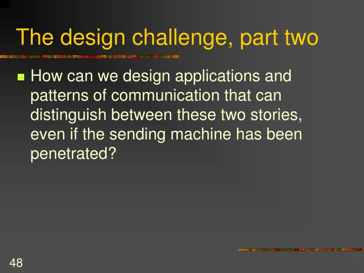 The design challenge, part two