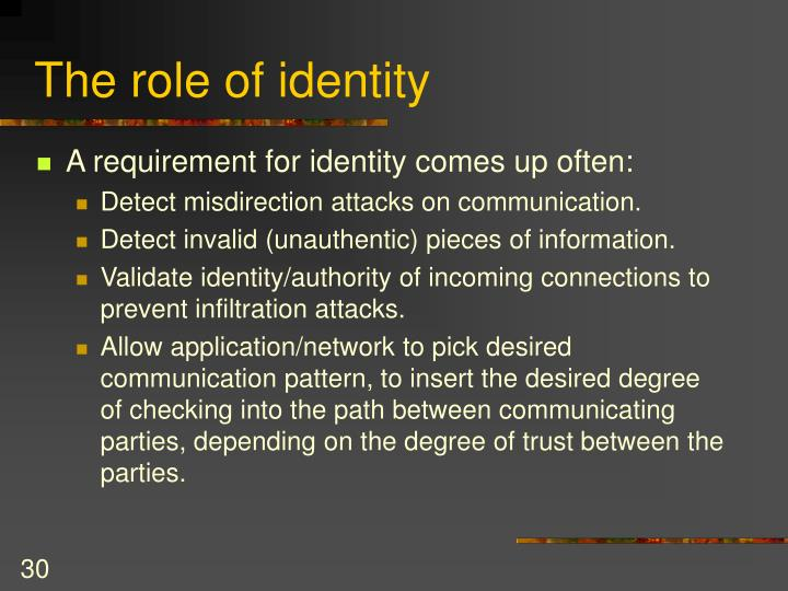 The role of identity