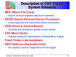 description of csc trigger system elements