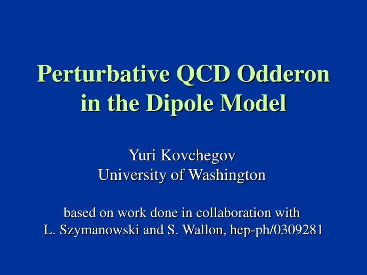 perturbative qcd odderon in the dipole model