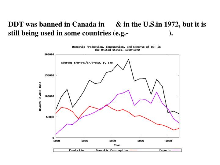 DDT was banned in Canada in      & in the U.S.in 1972, but it is