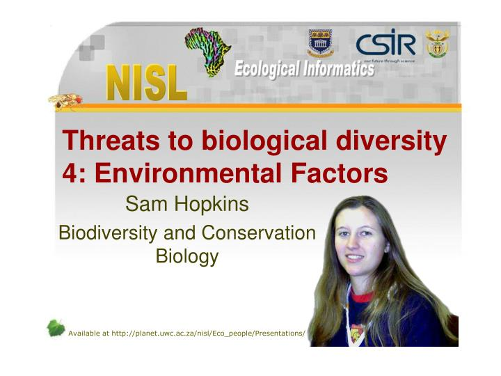 threats to biological diversity 4 environmental factors n.