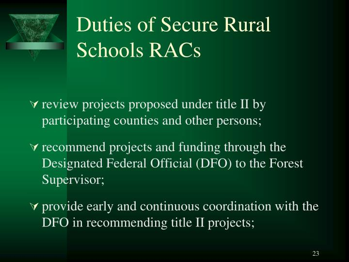 Duties of Secure Rural Schools RACs