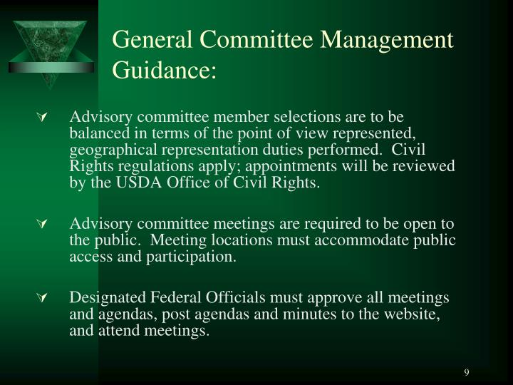 General Committee Management Guidance: