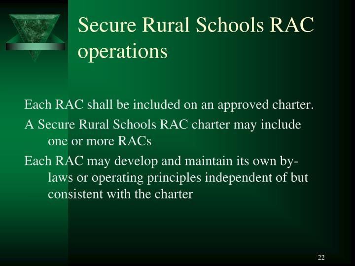 Secure Rural Schools RAC operations