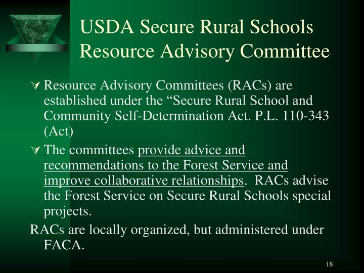 USDA Secure Rural Schools Resource Advisory Committee
