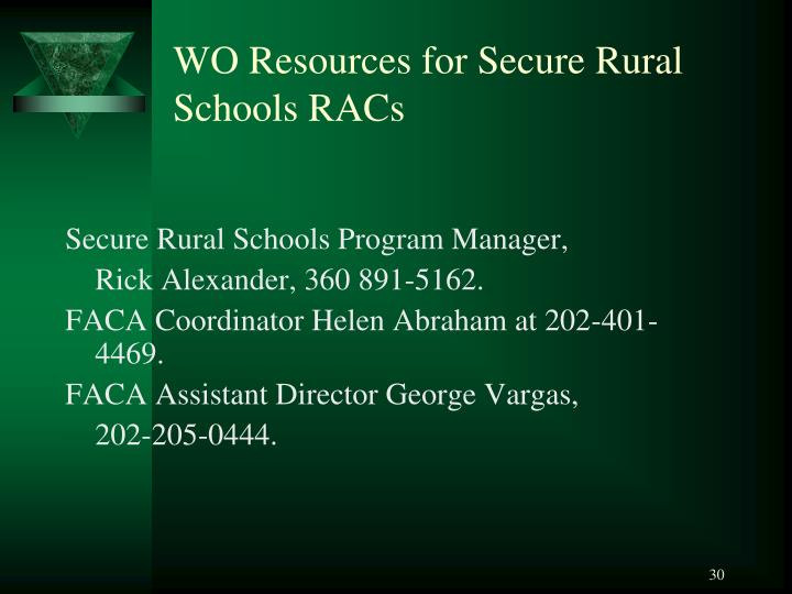 WO Resources for Secure Rural Schools RACs