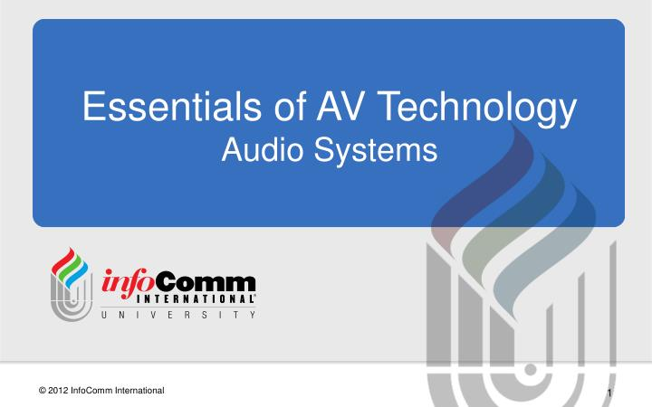essentials of av technology audio systems n.